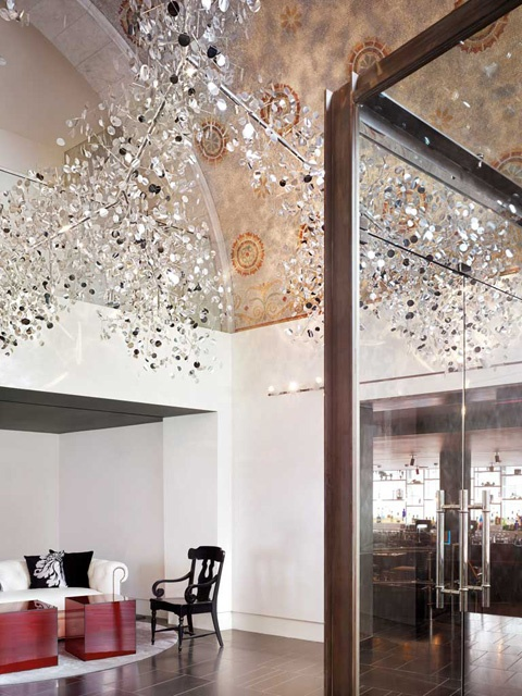 light reflecting, silver ceiling sculptures, Ames Hotel in Boston