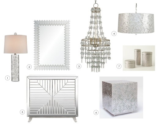 (1) lamp by Currey and Co.  (2) mirror by Mirror Image Home  (3) chandelier by Currey and Co. (4) drum shade pendant by Worlds Away  (5) chest by Worlds Away  (6) bunching table by Made Goods  (7) canisters by Studio A