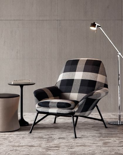 this mid century modern chair comes to life in this fabric!
