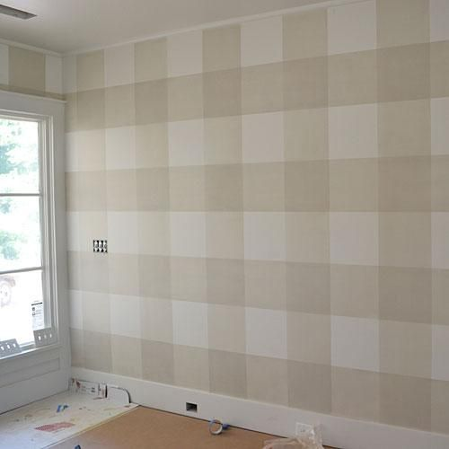 Try painting gingham on the walls in a neutral color.   This would be fabulous backdrop to sleek contemporary furnishings.