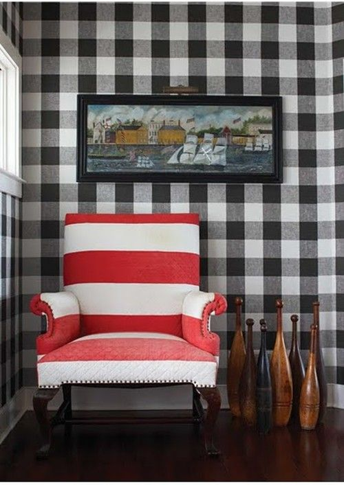 sometimes it all about what you pair with it - A bold red and white stripe chair completely transforms this look