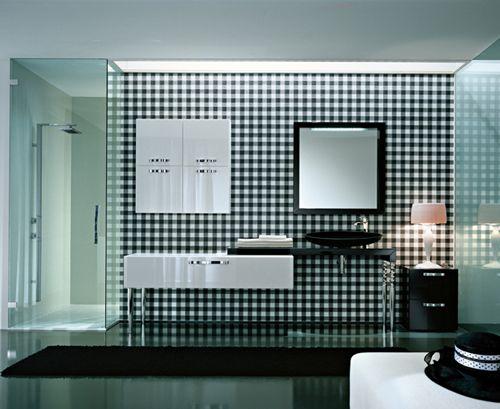 gingham modern vanity wall
