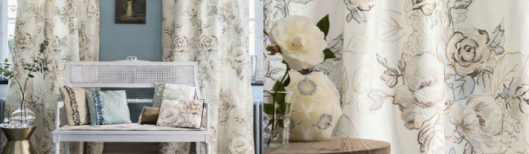 This romantic, soft floral has less saturated color for a subtle and quiet effect.  From the Etamine collection Granville et Porquerolles