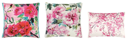 painterly floral throw pillows in vibrant, cheerful colors, by Designers Guild