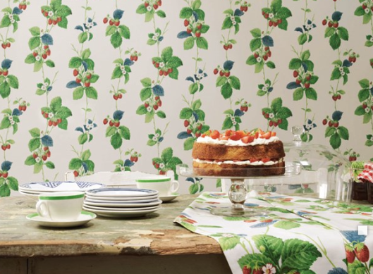 Also pulled from the Sanderson archives - This berry pattern is sure to add cottage charm to any interior for spring and summer. The original block print dating from 1963.