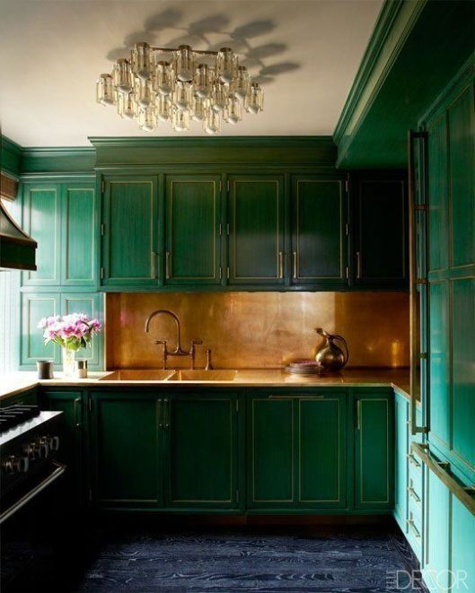 a lacquered finish with copper backsplash, designed by Kelly Wearstler