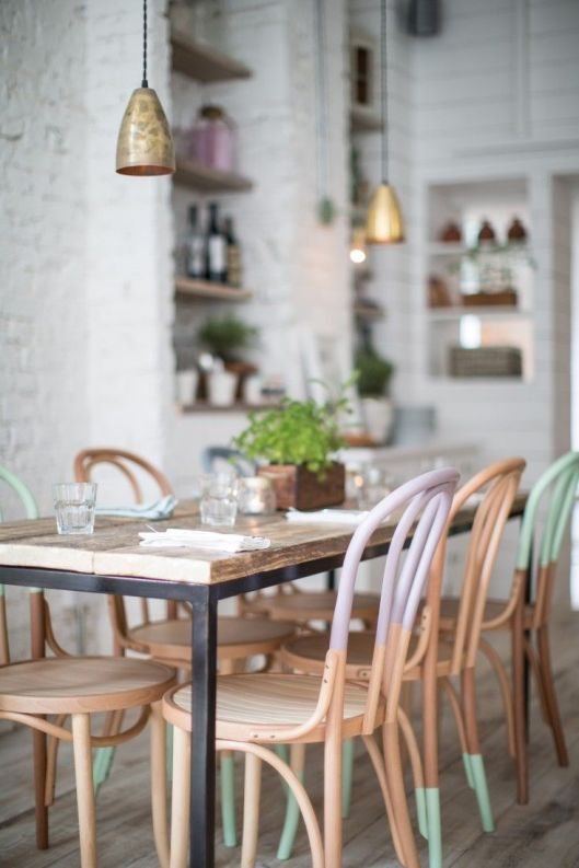 bentwood cafe chairs in a mixture of pastels  - via Alexander Waterworth Interiors