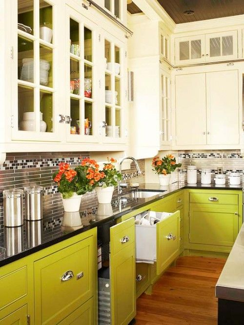 lime green base cabinets